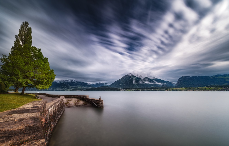Фото обои Switzerland, Bern, Swiss Alps, Lake Thun, propeller clouds