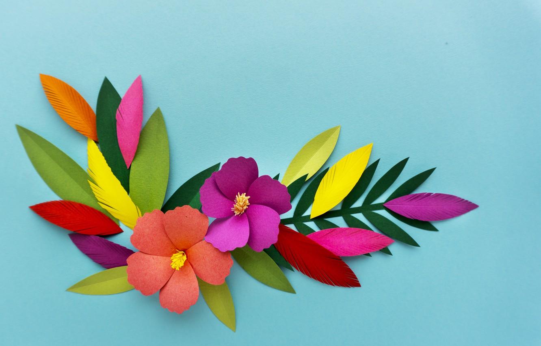 Фото обои цветы, рендеринг, узор, colorful, flowers, композиция, rendering, paper, composition, floral