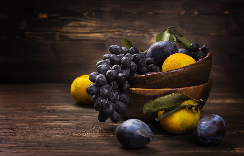 Фото обои виноград, фрукты, слива