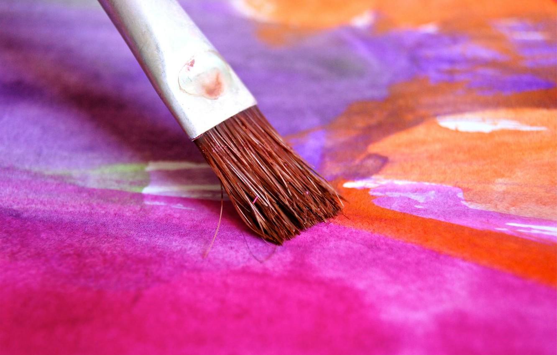 Фото обои краски, кисть, рисует, рисовать
