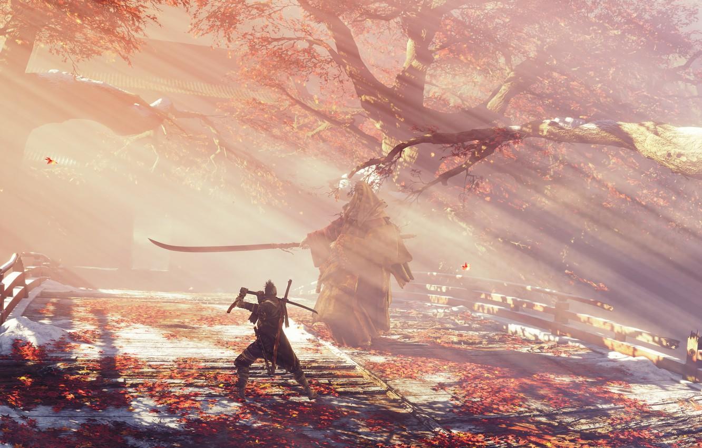 Фото обои листья, туман, игра, япония, волк, меч, sword, art, экшен, протез, поединок, wolf, samurai, синоби, from …