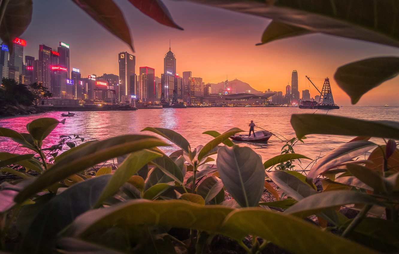 Фото обои город, бухта, рыбак, Гонконг, Китай, Hong Kong, КНР, Гон Конг