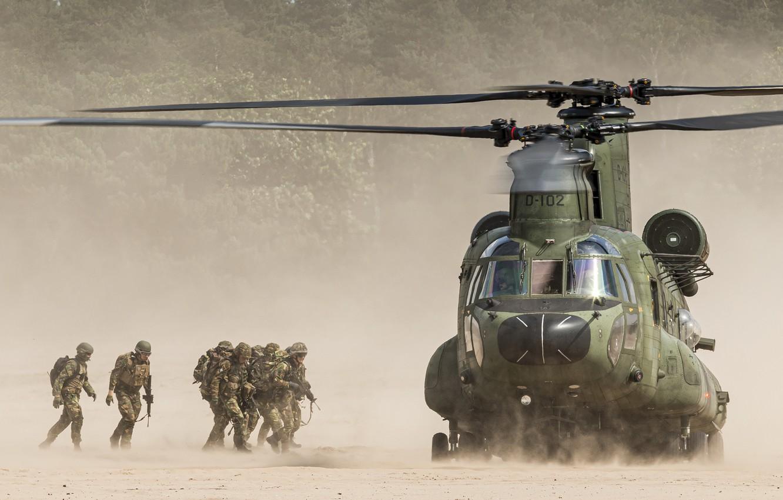 Фото обои армия, солдаты, вертолёт