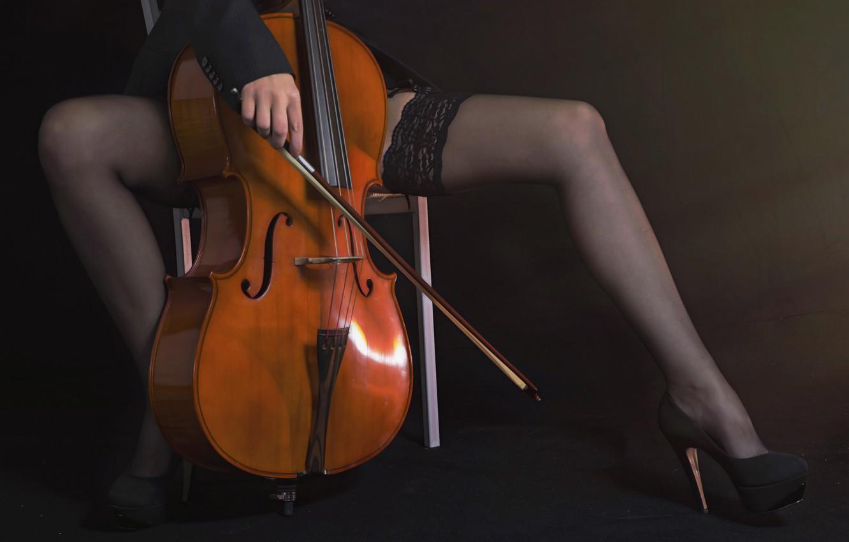 Фото обои девушка, музыка, виолончель