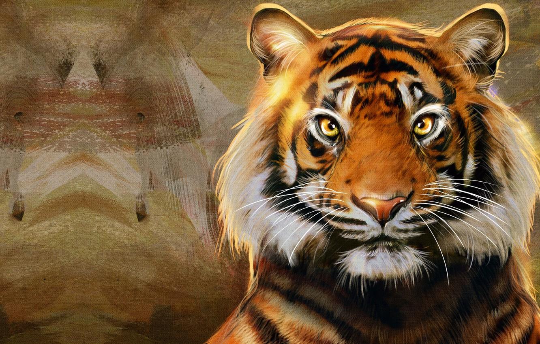 Фото обои полоски, тигр, хищник, арт, большая кошка, Raaawwr, Nic Hon