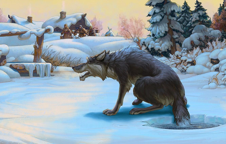 Фото обои зима, волк, сказка, Рисунок, прорубь