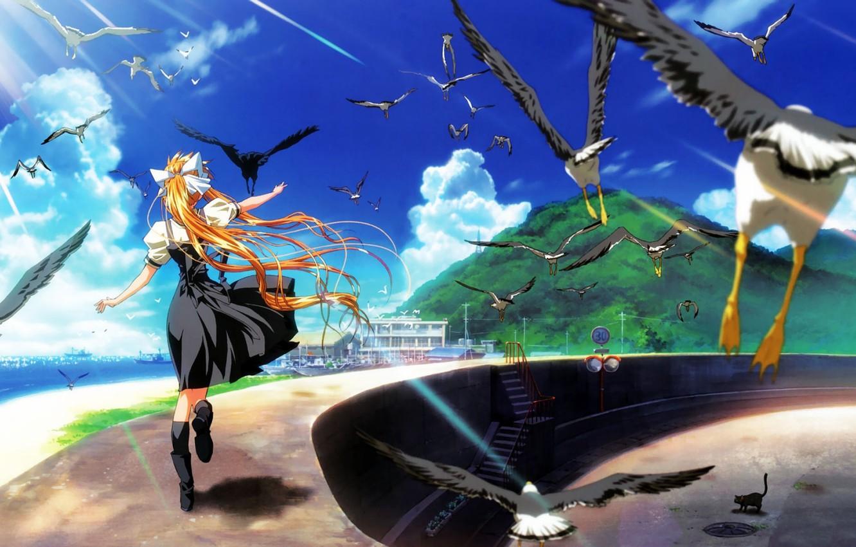 Фото обои пристань, чайки, яхты, бассейн, холм, дорожка, лучи солнца, длинные волосы, Air, голубое небо, берег моря, …