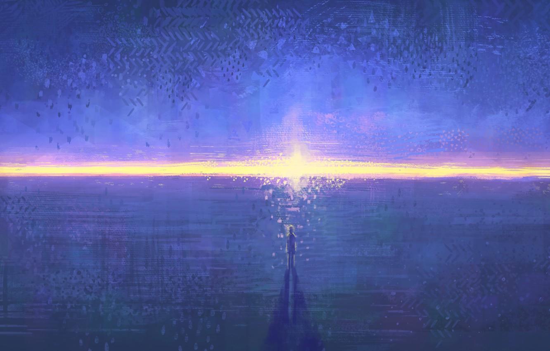 Фото обои небо, вода, солнце, закат, человек