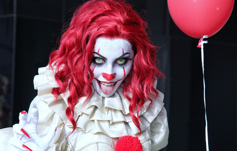 Фото обои язык, девушка, клоун, ужасы, стивен кинг, оно, pennywise, пеннивайз