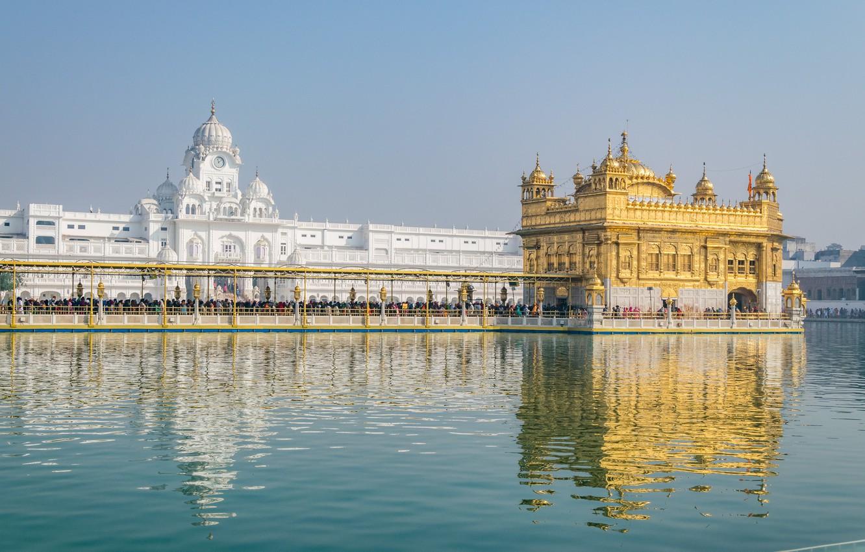 Фото обои вид, Индия, Золотой храм, Хармандир-Сахиб