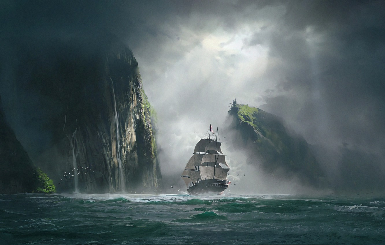 Фото обои море, тучи, туман, скалы, корабль, арт, просвет