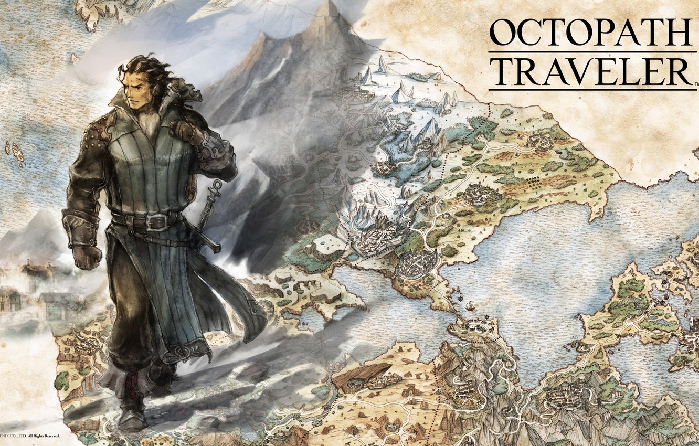 Фото обои sword, fantasy, game, soldier, map, digital art, artwork, warrior, fantasy art, Octopath Traveler, Olberic Eisenberg