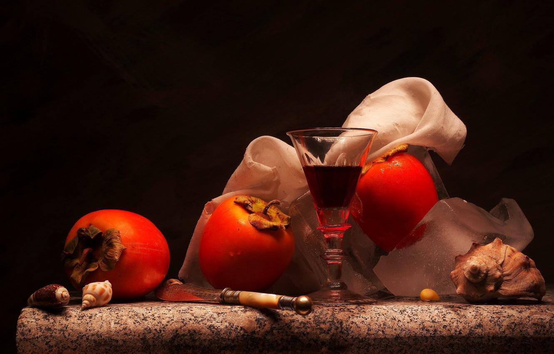 Фото обои ягоды, бокал, хурма