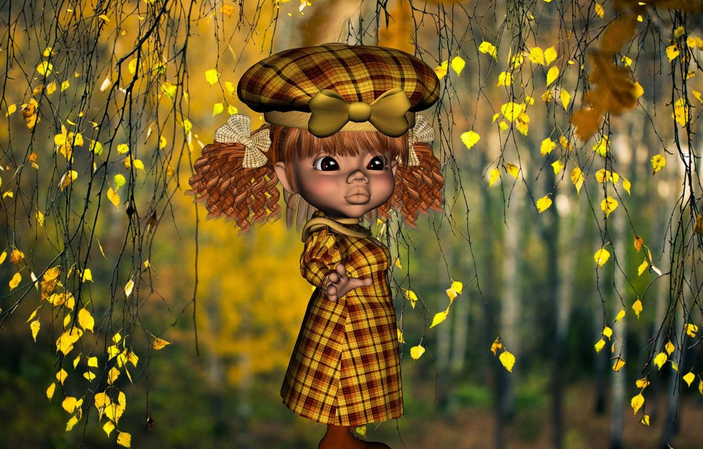 Фото обои лес, Осень, девочка