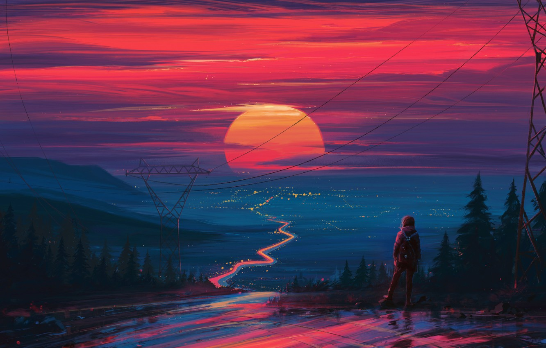Фото обои закат, рисунок, арт, art, Aenami, by Aenami, Alena Aenami, by Alena Aenami, Aenami Art, Way …