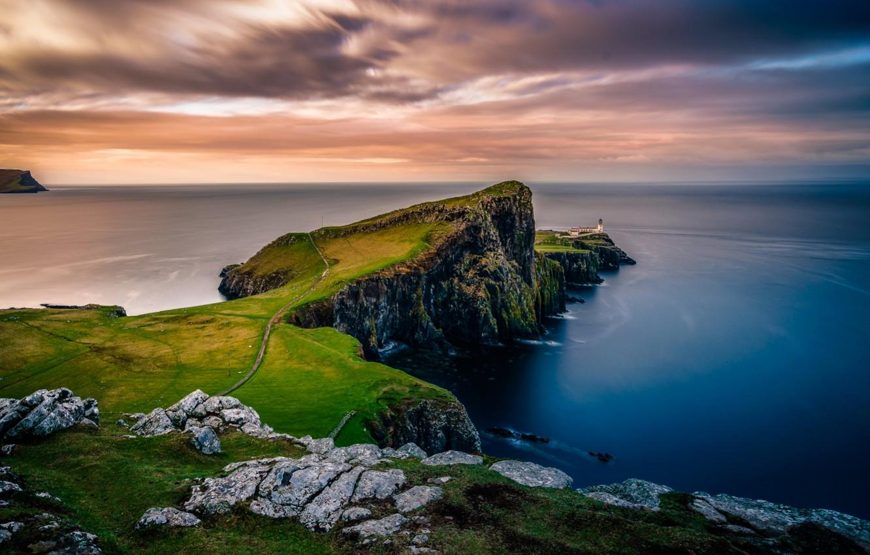 Фото обои море, пейзаж, природа, скалы, маяк, остров, Шотландия, Скай
