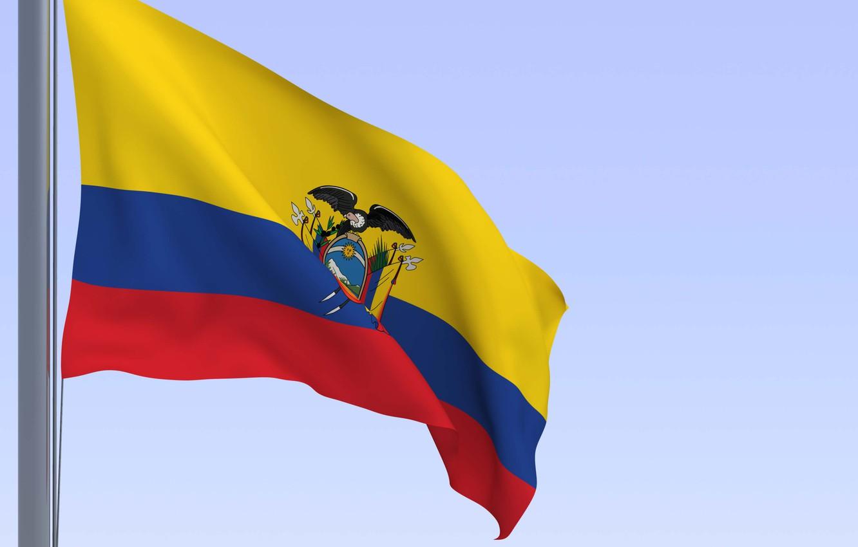 Фото обои небо, жёлтый, флаг, орёл, текстуры, ecuador, эквадор