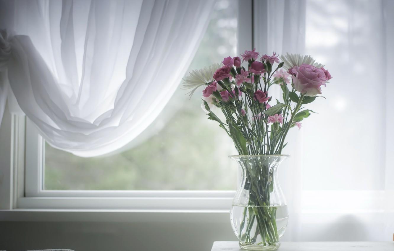 Фото обои цветы, окно, ваза