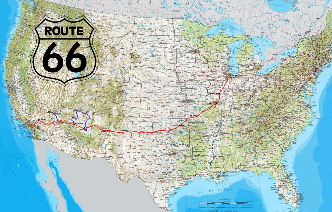 Обои highway, map, Route 66, north america, border, Road, usа, miscellanea, united states of america. Разное foto 6
