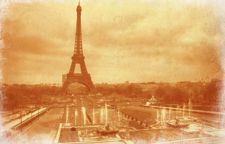 Фото обои ретро, Франция, Париж, Эйфелева башня