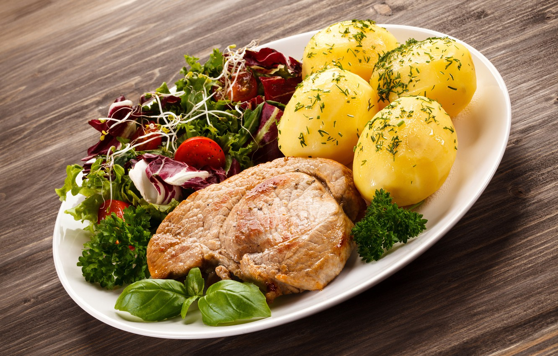 Фото обои зелень, мясо, овощи, картофель