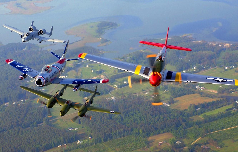 Фото обои полет, ретро, самолеты, парад