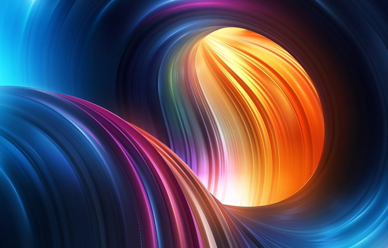 Фото обои волны, цвета, изгибы, абстракция 3D
