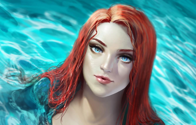Фото обои взгляд, вода, девушка, арт, Аквамен