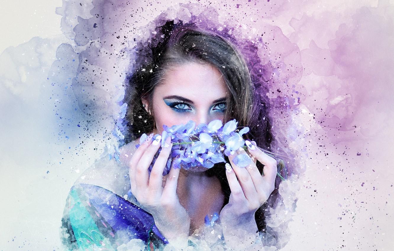 Фото обои взгляд, цветы, фон, руки, девушка art