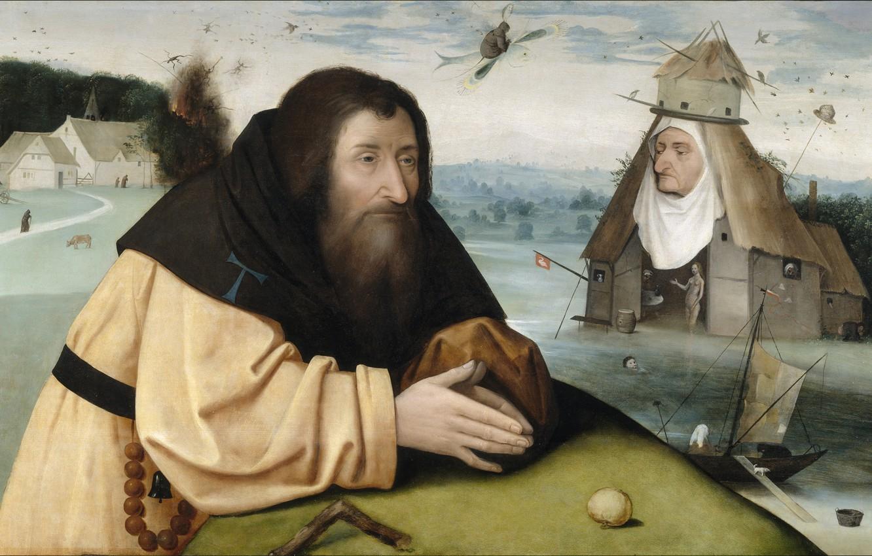 Фото обои Иероним БОСХ, 1500-1510, Искушение святого Антония