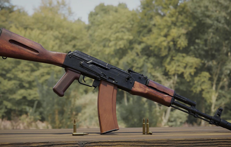 Фото обои рендеринг, оружие, тюнинг, Автомат, Gun, weapon, render, Калашников, рендер, 3d art, АК-74, АКМ, Штурмовая винтовка, …