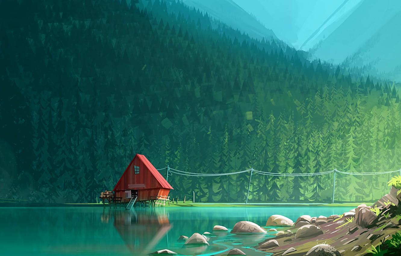 Фото обои forest, lake, artwork, sawmill