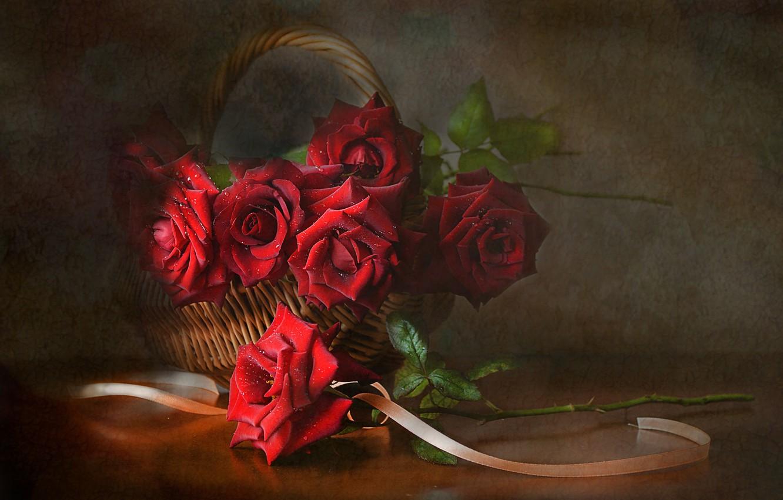 Фото обои цветы, корзина, розы, лента, натюрморт