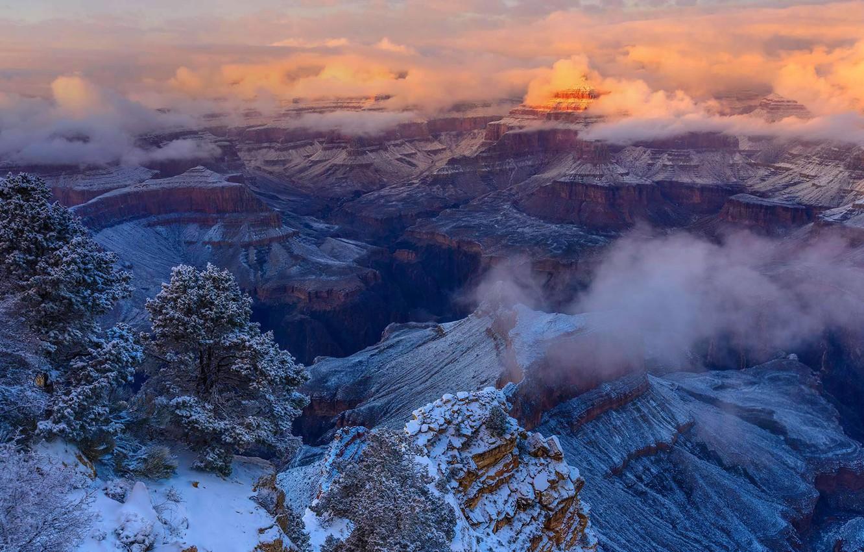 Фото обои зима, облака, Аризона, США, Национальный парк Гранд Каньон