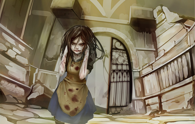 Фото обои одиночество, страх, разрушение, ужас, боль, Alice, раны, ссадины, безумие возвращается, кровавые слёзы, Madness Return, руки …