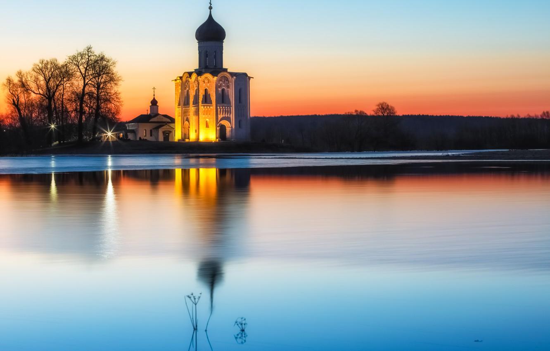 Фото обои вода, пейзаж, природа, рассвет, церковь, Боголюбово