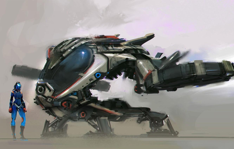 Фото обои fantasy, science fiction, sci-fi, digital art, artwork, concept art, fantasy art, Spaceship, helmet, astronaut, spacesuit