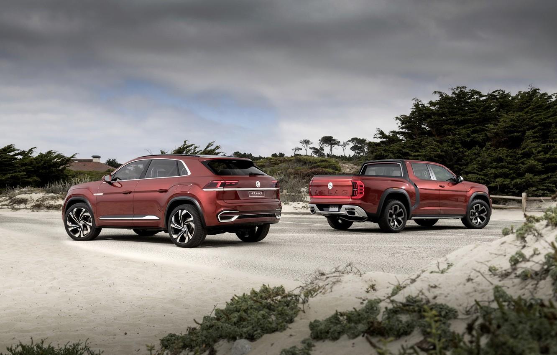 Фото обои Volkswagen, пикап, 2018, SUV, Atlas Tanoak Concept, Atlas Cross Sport
