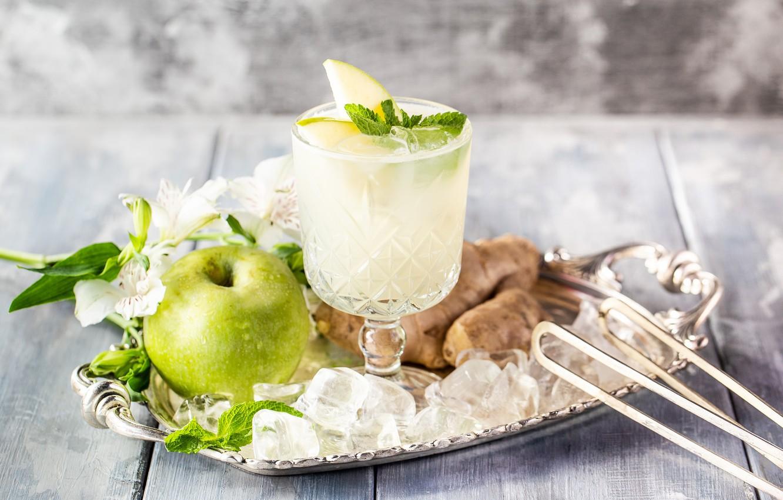 Фото обои цветы, яблоко, коктейль