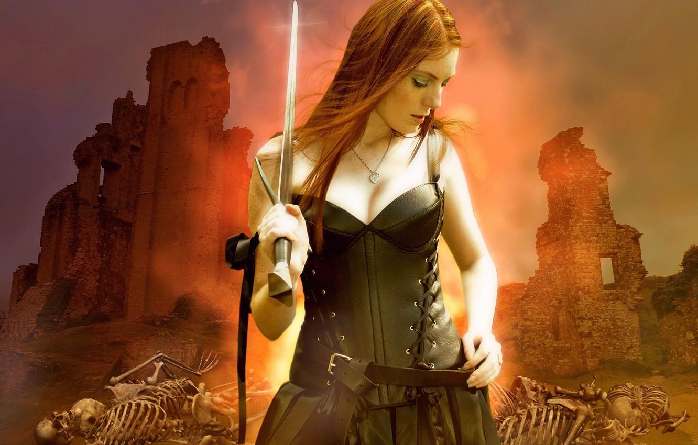 Фото обои девушка, меч, фэнтези, скелеты