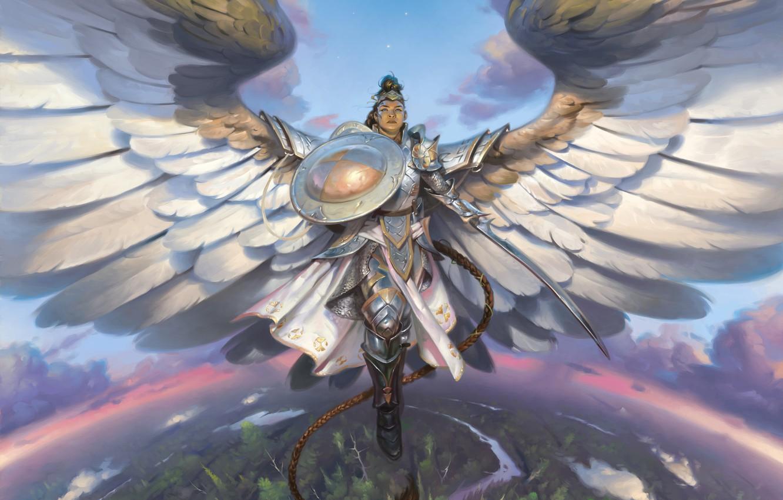 Фото обои крылья, меч, доспехи, горизонт, шлем, коса, щит, art, в небе, Magic the Gathering, женщина воин, …