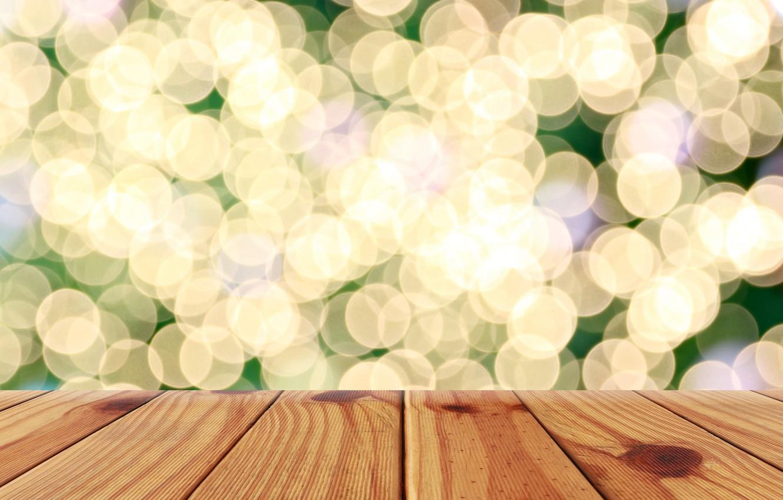 Фото обои фон, дерево, доски, golden, золотой, gold, wood, background, боке, bokeh, table, sparkle