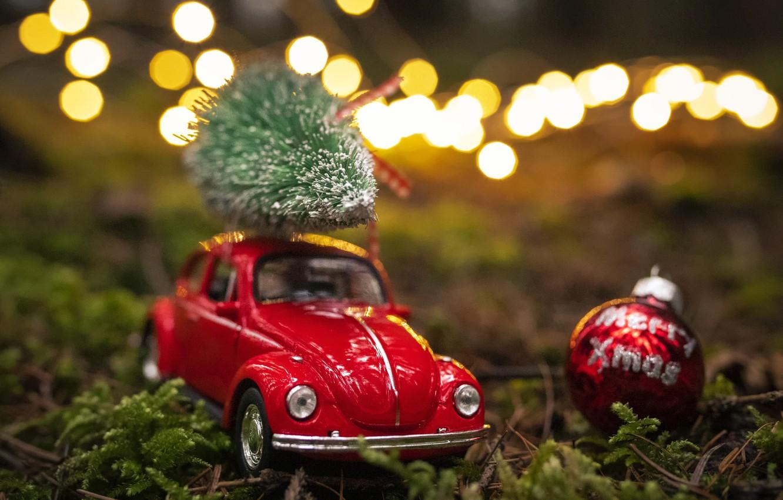 Фото обои природа, праздник, игрушка, новый год, мох, рождество, шарик, машинка, ёлочка, боке
