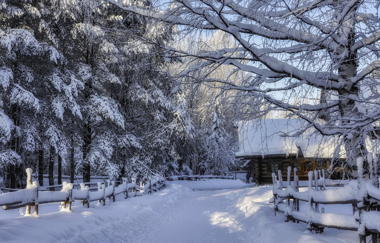 Фото обои зима, лес, снег, пейзаж, природа, дом, забор, ограждение