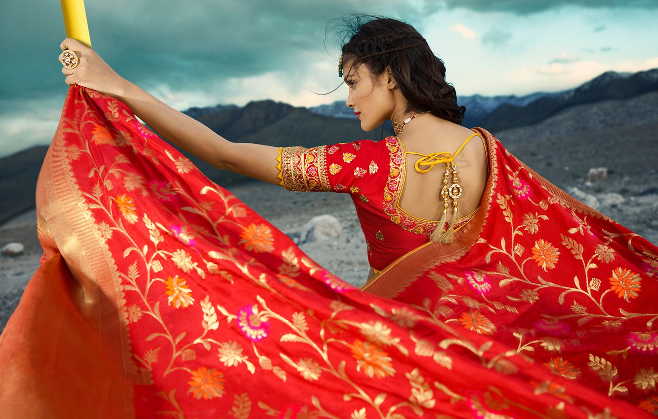Фото обои girl, fashion, model, beauty, pose, indian, actress, celebrity, bollywood, makeup, back view, saree, traditional clothes, …