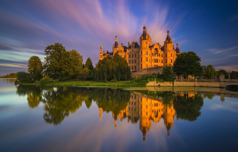 Фото обои река, замок, Германия, Шверин