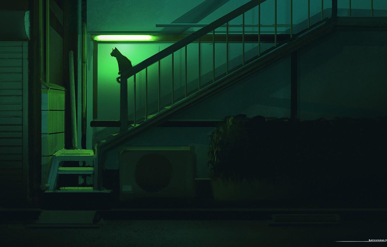 Фото обои Ночь, Кот, Силуэт, Арт, Illustration, Concept Art, Environments, by Jorge Gonzalez, Jorge Gonzalez