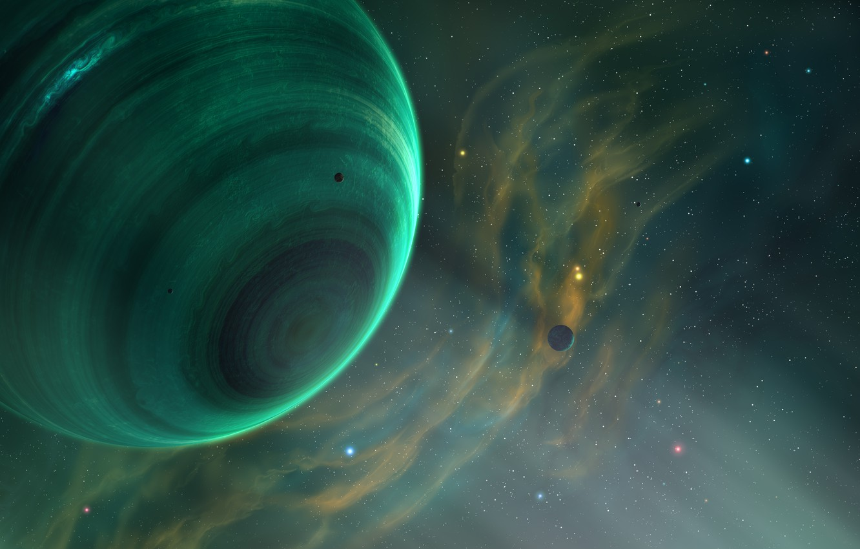 Фото обои Звезды, Планета, Космос, Туманность, Планеты, Fantasy, Planets, Арт, Stars, Space, Art, Спутник, Planet, Фантастика, Nebula, ...