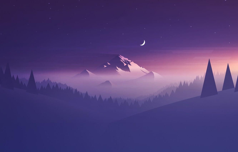 Фото обои Минимализм, Горы, Туман, Звезды, Гора, Лес, Пейзаж, Ёлки, Месяц