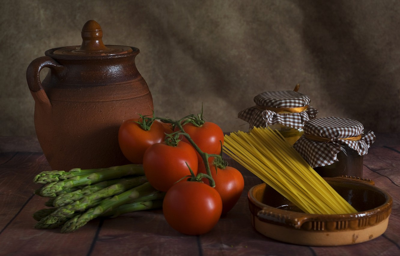 Фото обои кувшин, помидоры, спагетти, продукты, спаржа
